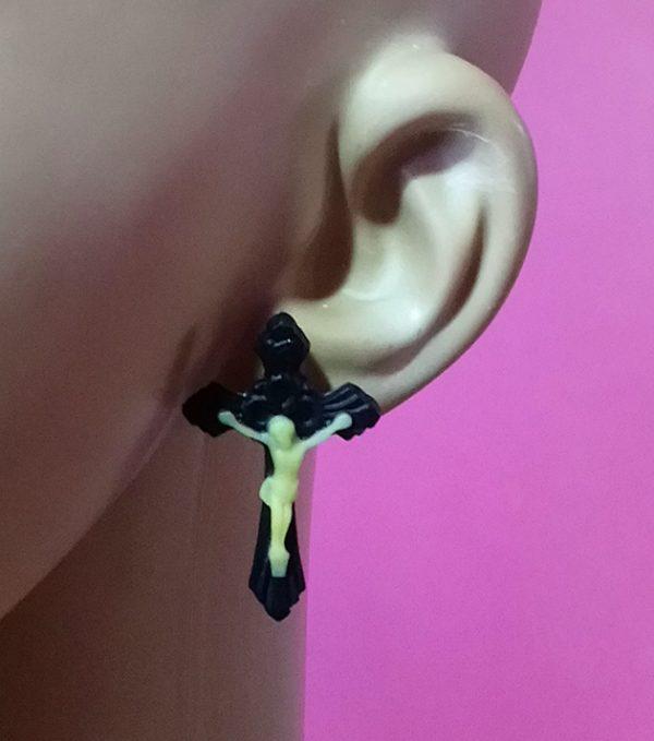 Black Jesus Crucifix 3D stud earrings