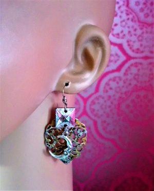 Steampunk fantasy moon earrings