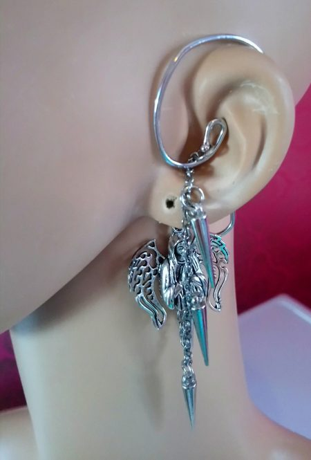 Gothic silver 3D angel and spike cuff earring