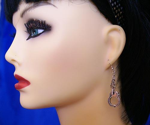 3D silver handcuff earrings