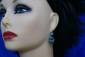 Aqua bead and skull earrings