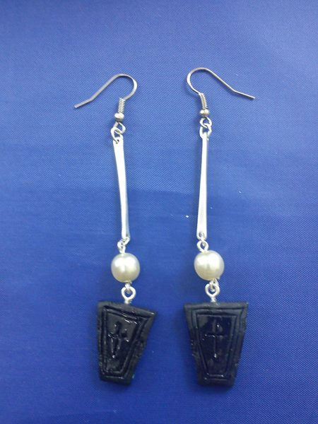 Back coffin cross dangle earrings
