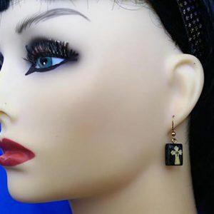 Black Celtic cross tile earrings