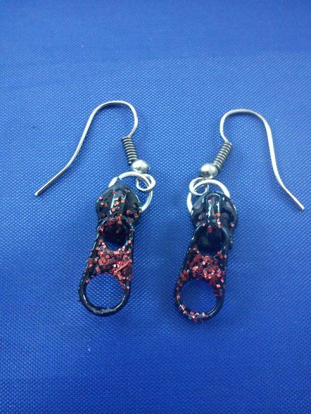 Black red glitter zip earrings