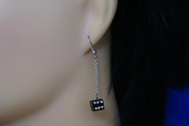Crystal jewelled dice and drop chain earrings