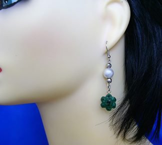 Cameo flower and drop chain earrings