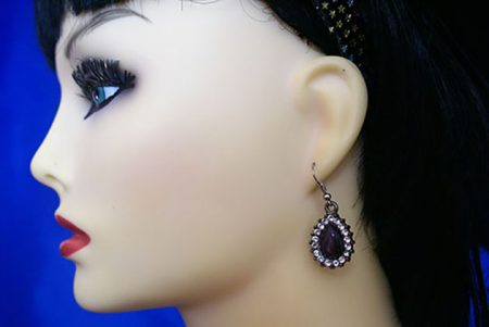 Purple jewel Lolita drop earrings