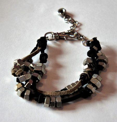 Steampunk cog nut multi strap bracelet