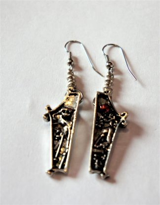Silver coffin jack and Sally Nightmare before Christmas 3D earrings