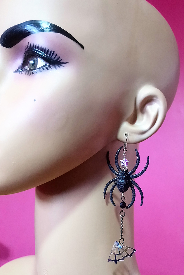 Sparkle 3D spider and drop web earrings