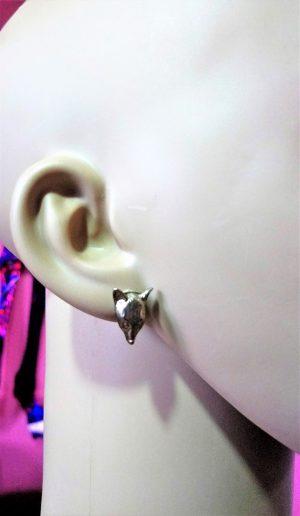 Steampunk gold 3D fox stud earrings