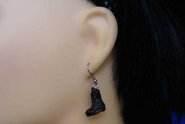3D black Doc boot earrings