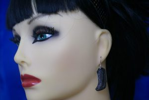 Gothic black boot earrings