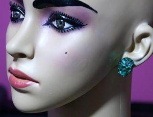 Gothic green jewelled stud earrings