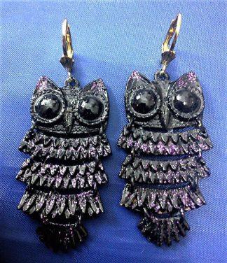 Gothic Steampunk 3d owl earrings