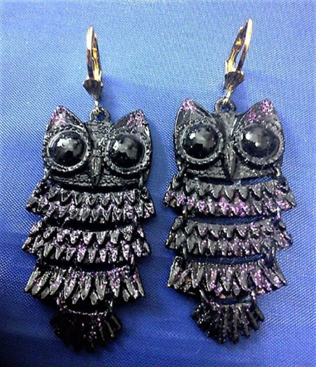 Gothic Steampunk 3d owl earrings