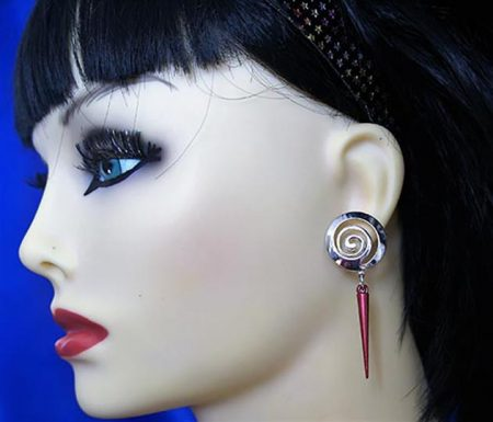 Swirl and spike earrings