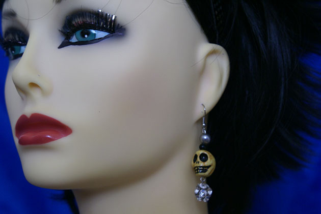 Gothic yellow skull and crystal bead earrings
