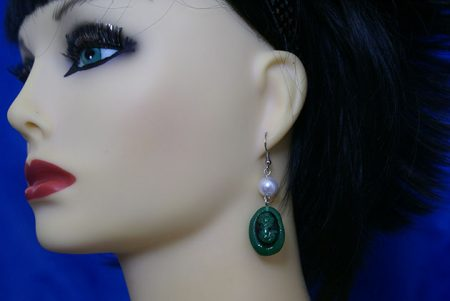 Gothic Victorian green lady cameo and pearl earrings