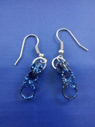 Black and blue glitter zip earrings