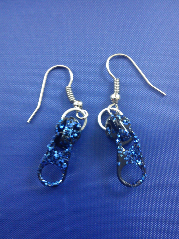 Black and blue glitter zip earrings