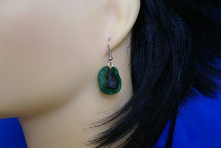 Black cat cameo earrings