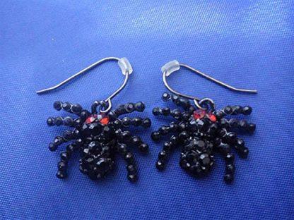 Black jewelled spider earrings