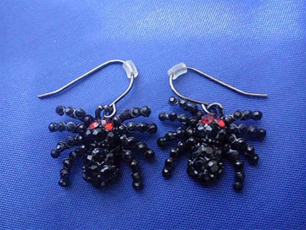 Black jewelled spider earrings