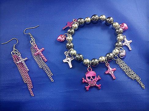 Punk Lolita metallic skull and cross set