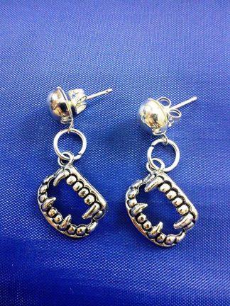 Fang drop stud earrings