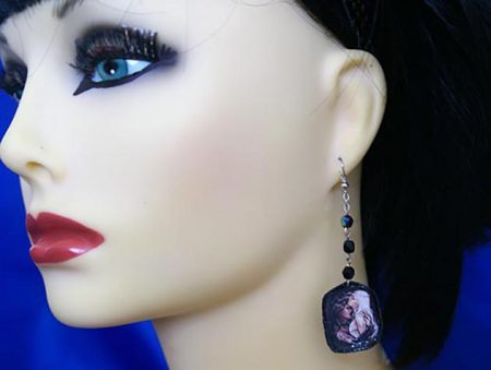 Vampette embrace and drop bead earrings