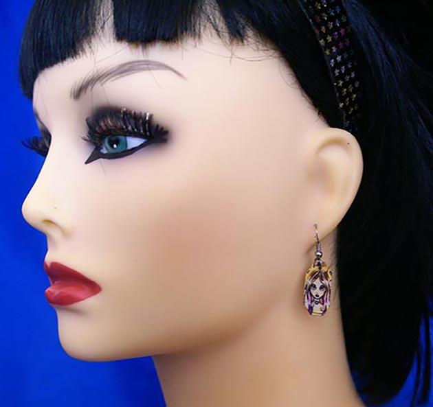 Fantasy yellow fairy face earrings