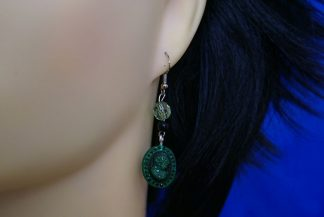 Green cameo lady and green bead earrings