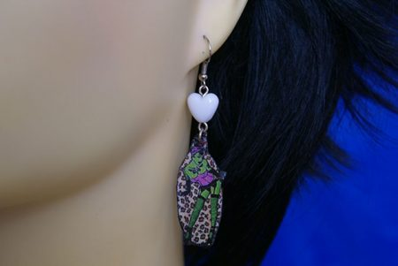Zombie pinup cameo earrings