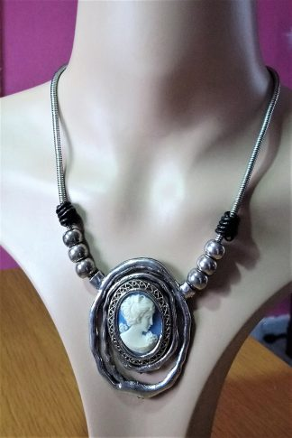 Art nouveau style blue cameo lady and bead necklace