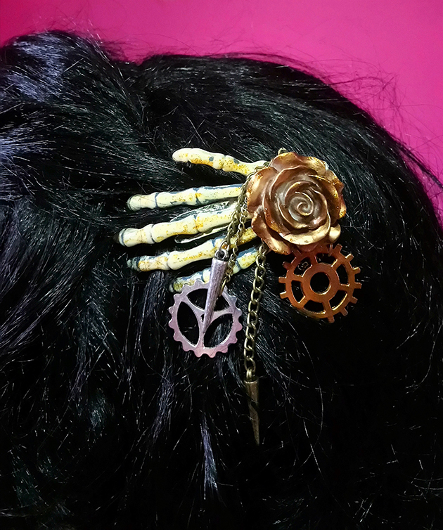 Steampunk skeleton hand and rose hair clip
