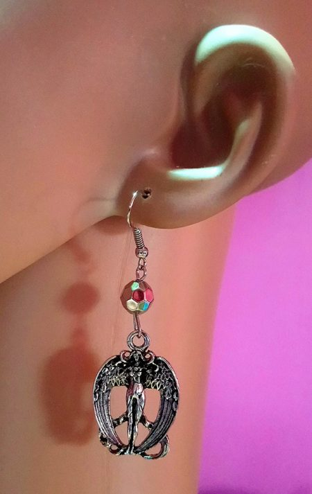 Victorian fantasy style angel and crystal bead earrings