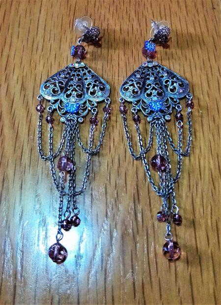 Victorian Lolita fan and drop jewel earrings
