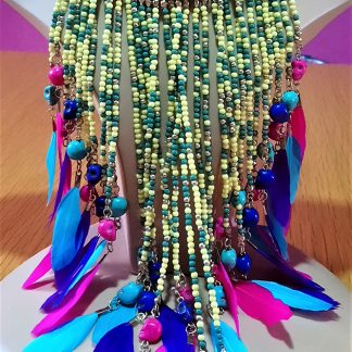 Kali Gothic multi bead skull feather tassel necklace