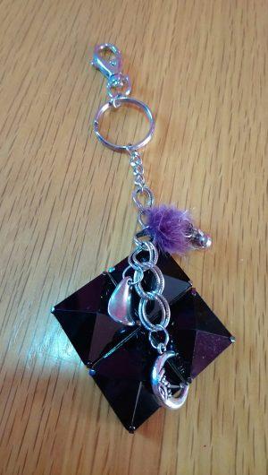 Pyramid stud square and lucky moon charm keyring/bag charm