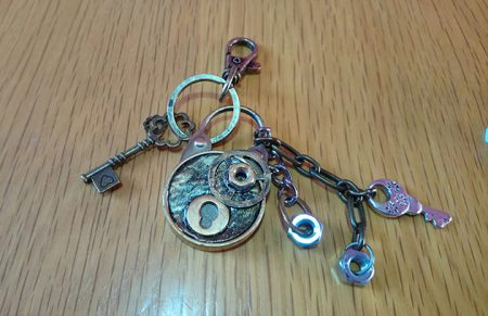 Steampunk Alice in Wonderland style locket and charm bag keyring