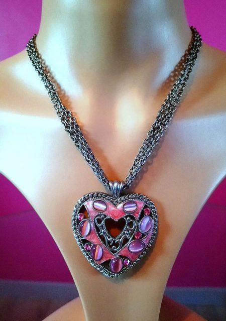 Pink jewel heart pendant necklace
