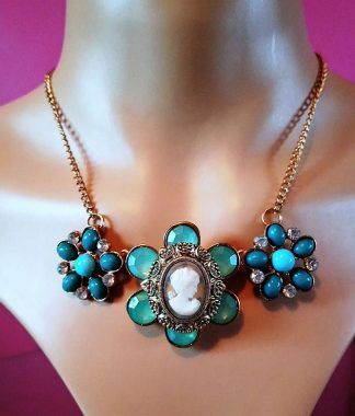 Green jewel flower and bead lady cameo necklace