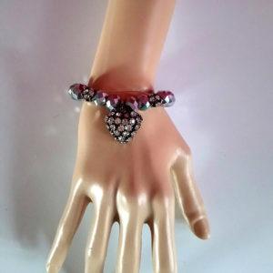 Gunmetal jewel and heart bracelet