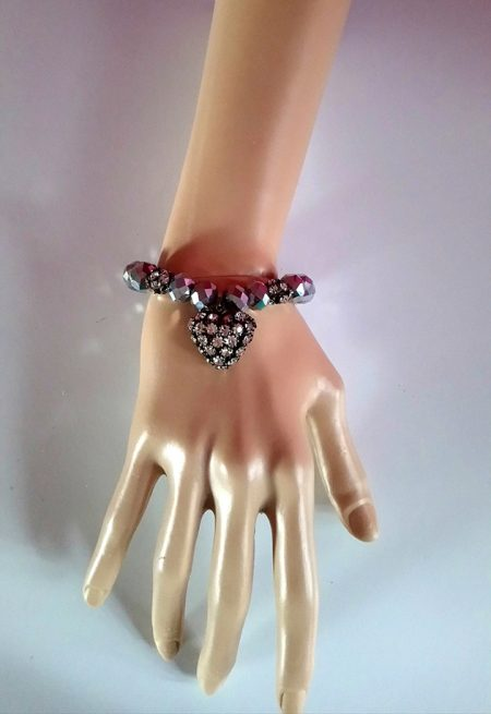 Gunmetal jewel and heart bracelet