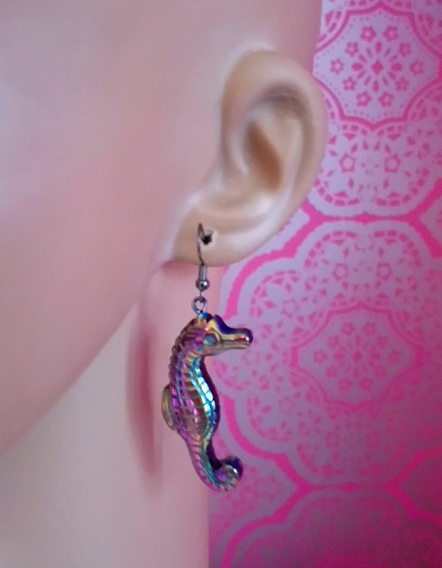 ced4320f4 Iridescent 3D seahorse earrings - Temperley Studio