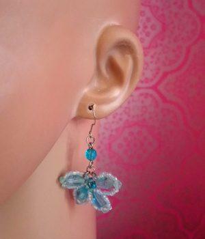 Bohemian Lolita blue jewel butterfly earrings