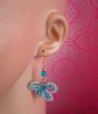 Blue jewel butterfly earrings