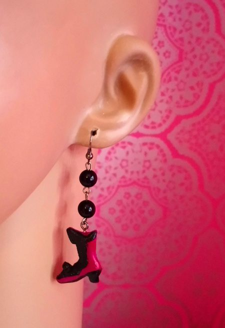 Victorian Lolita boot and bead earrings