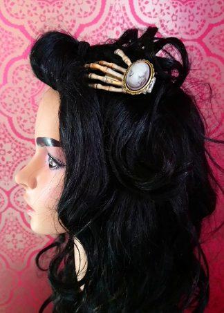 Cameo lady skeleton hand hair clip